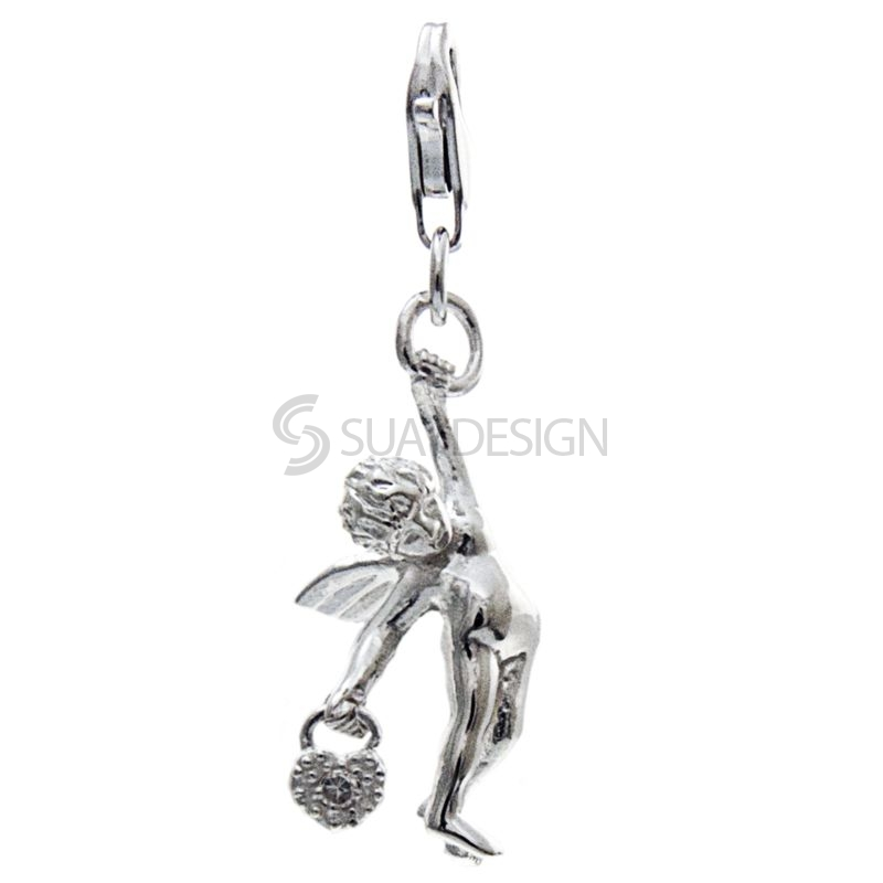 Women's Silver Angel with Crystal Clip on Charm