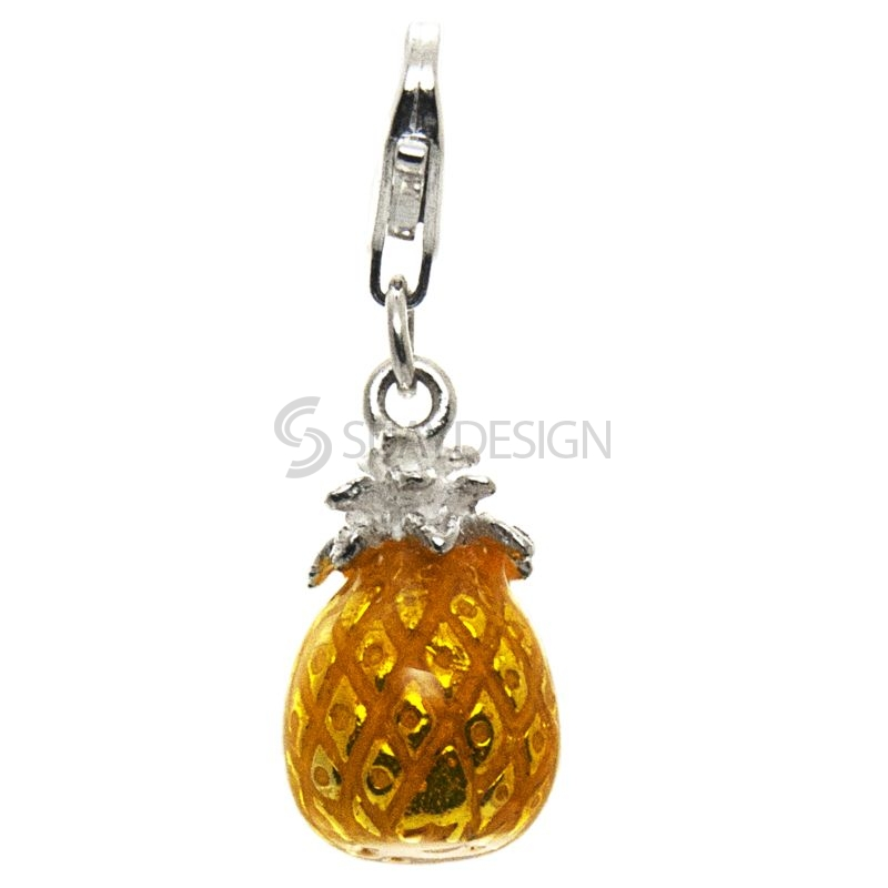 Women's Silver Enamel Pineapple Clip on Charm