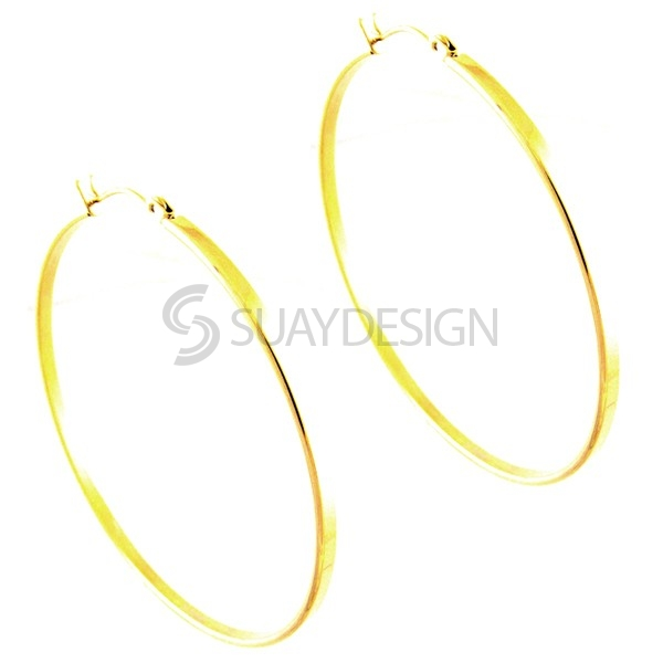 Women's Gold Steel Hoops 55mm