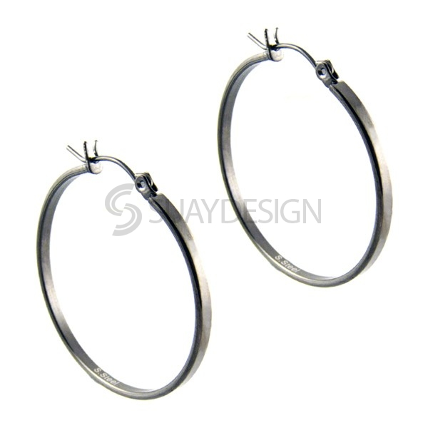 Women's Black Steel Hoops 25mm