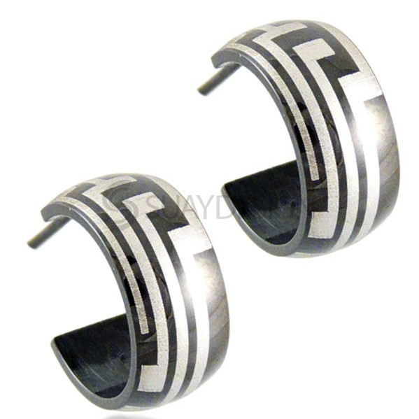 Women's Maze Steel Huggie Earrings