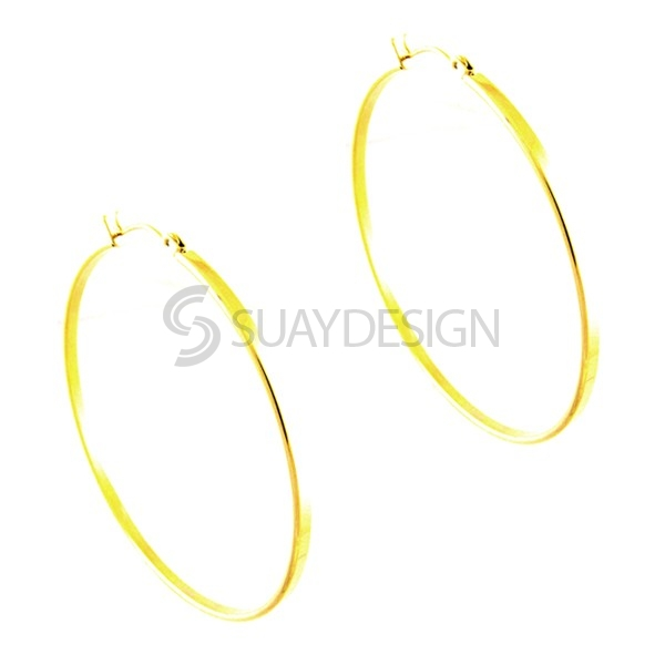 Women's Gold Steel Hoops 35mm