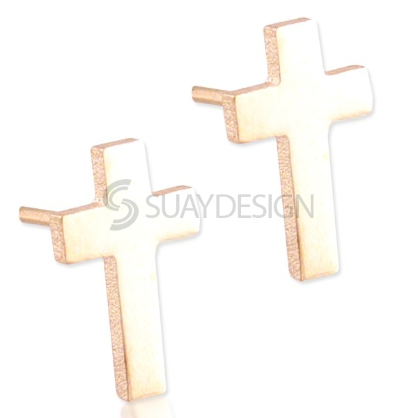 Women's Steel Rose Cross Earrings