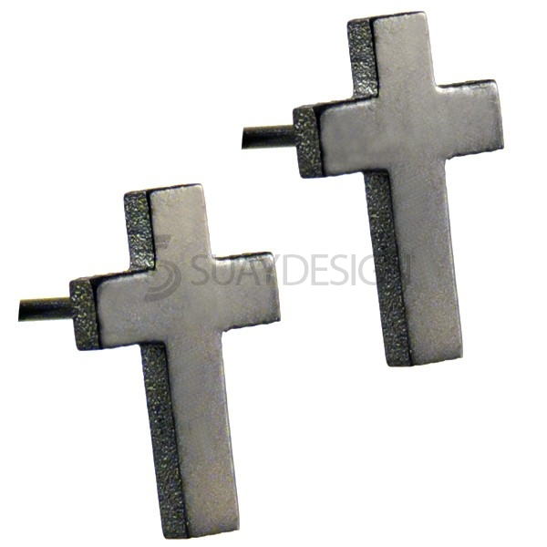 Women's Black Steel Cross Earrings