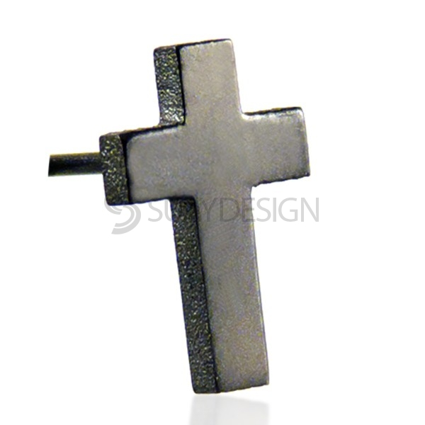 Black Steel Cross Earring