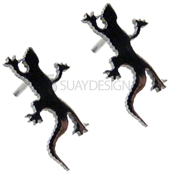Women's Black Gecko Earrings