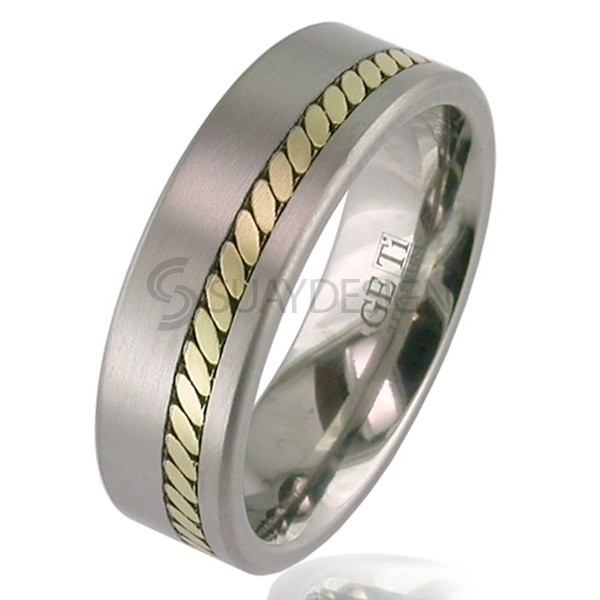 Gold & Titanium Ring 2208-1.5MM18KY-W1