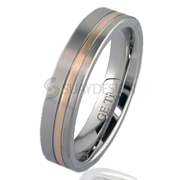 Women's Rose Gold Titanium Ring 2208G-1MM18R