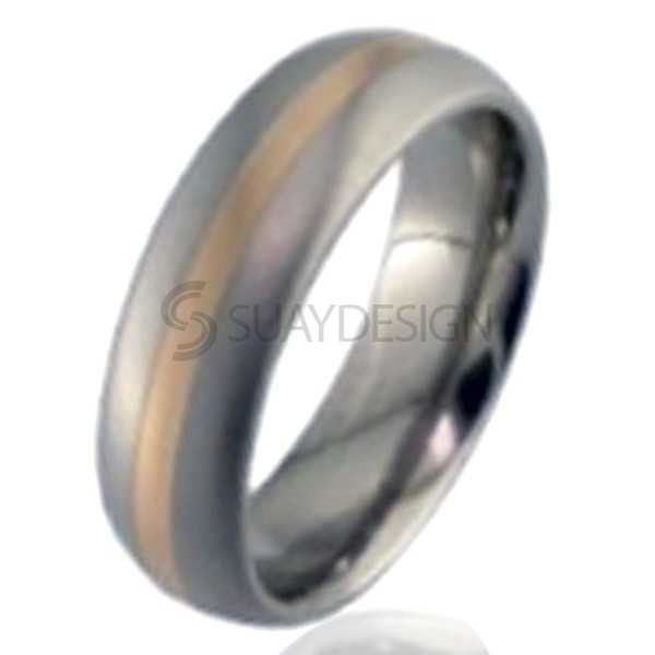 Women's Rose Gold & Titanium Ring 2210-1.5MM18KR