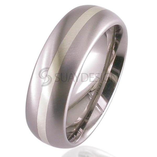 Women's White Gold Titanium Ring 2210-1.5MM9KW