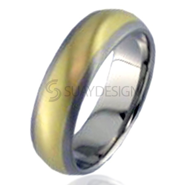 Women's Gold Inlaid Titanium Ring 2210-4MM18KY