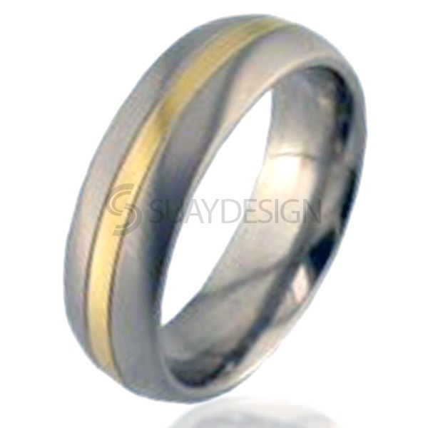 Gold Inlaid Titanium Ring 2210G-1.5MM18KY