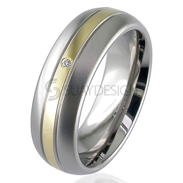 Women's Gold Inlaid Titanium Ring 2210GDS-1.5MM18KY