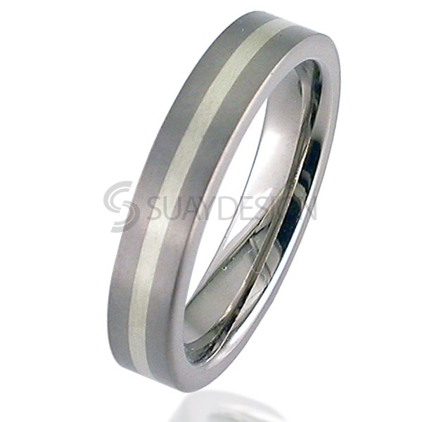 White Gold Titanium Ring 2218-1.5MM9KW
