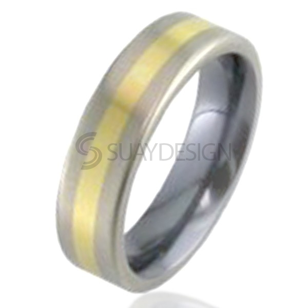 Gold Inlaid Titanium Ring 2218-2MM18Y