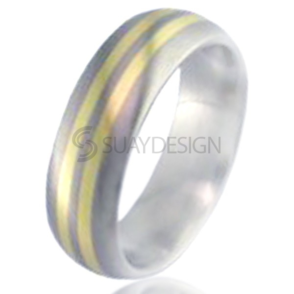 Gold Inlaid Titanium Ring 2219-1MM18KY