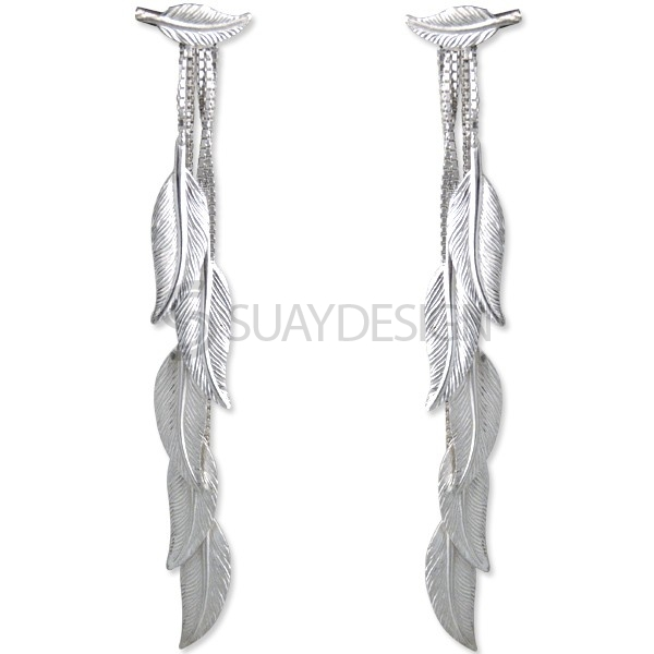 Women's Silver Feather Earrings