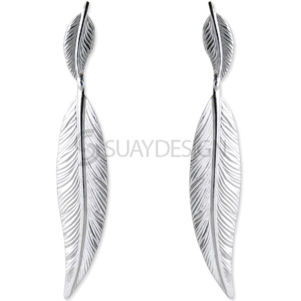 Women's Silver Feather Drop Earring