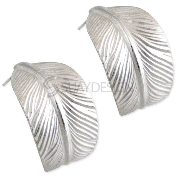 Women's Feather Hoop Earrings