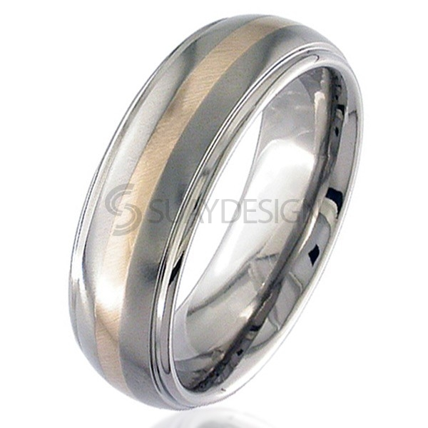 Women's Rose Gold & Titanium Ring 2205i-1.5MM18KR