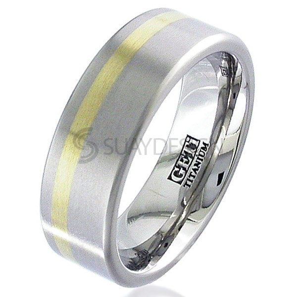 Women's Gold Inlaid Titanium Ring 2208-1.5MM18KY
