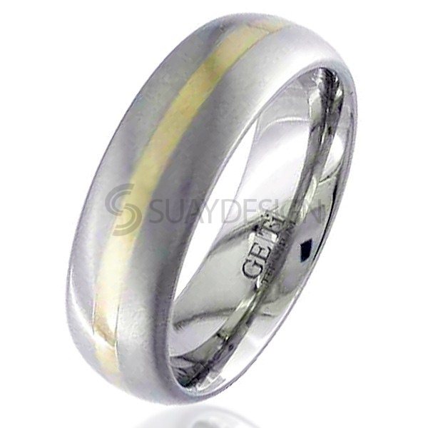 Women's Gold Inlaid Titanium Ring 2210-1.5MM18KY