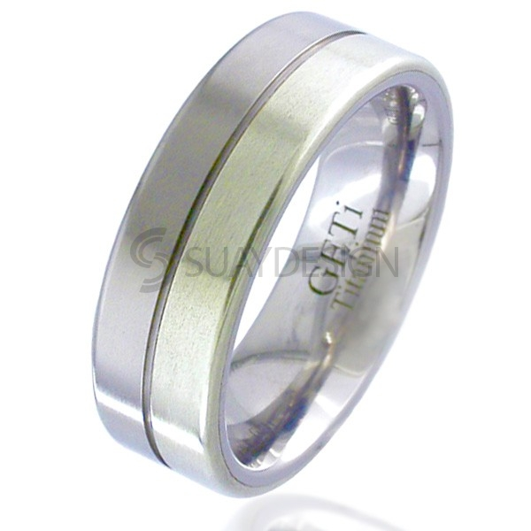 White Gold Inlaid Titanium Ring 2212G-9W
