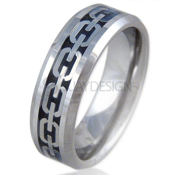 Chain Link Tungsten Ring