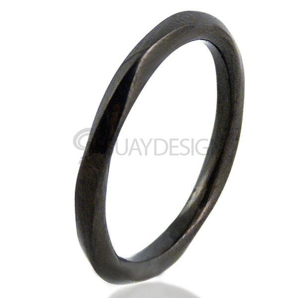 Twisted Black Steel Ring