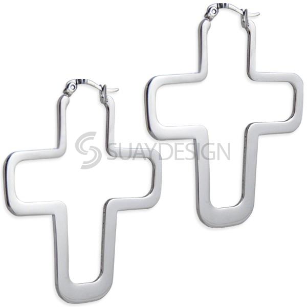 Women's Steel Crucifix Earrings