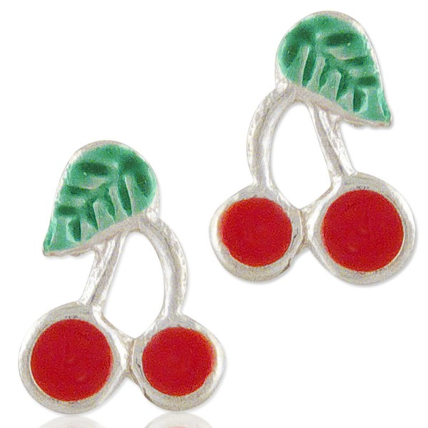 Women's Mini Cherry Silver Earrings