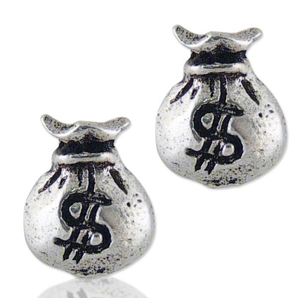 Women's Silver Money Bag Earrings