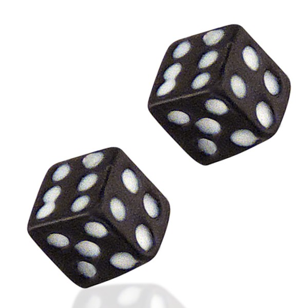 Women's Silver Black Dice Earrings