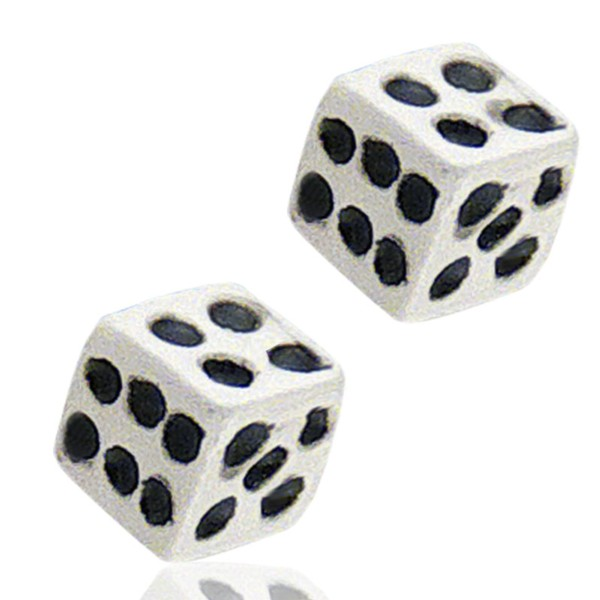 Women's Silver White Dice Earrings
