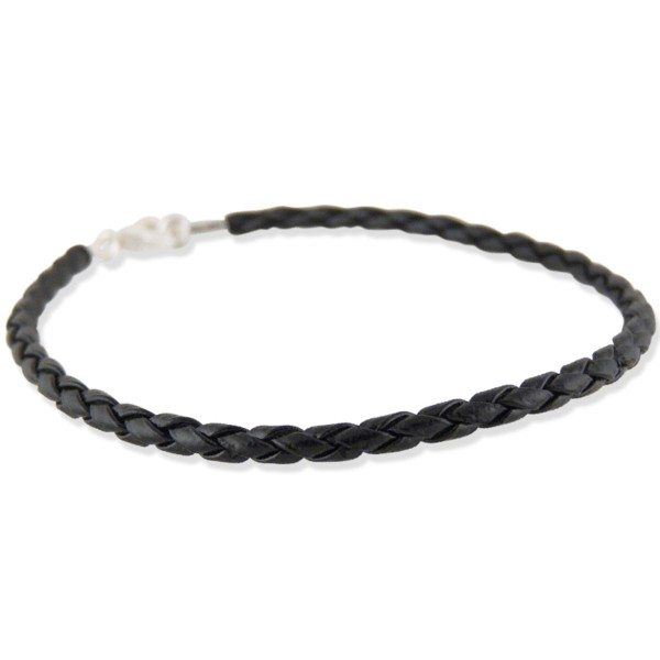 Women's Woven Black Leather Bracelet
