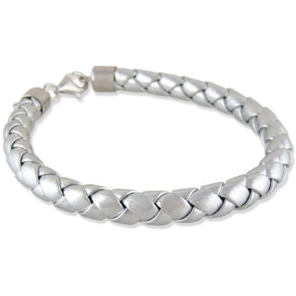 Women's Woven Silver Leather Bracelet