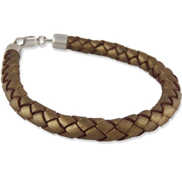 Women's Woven Bronze Leather Bracelet