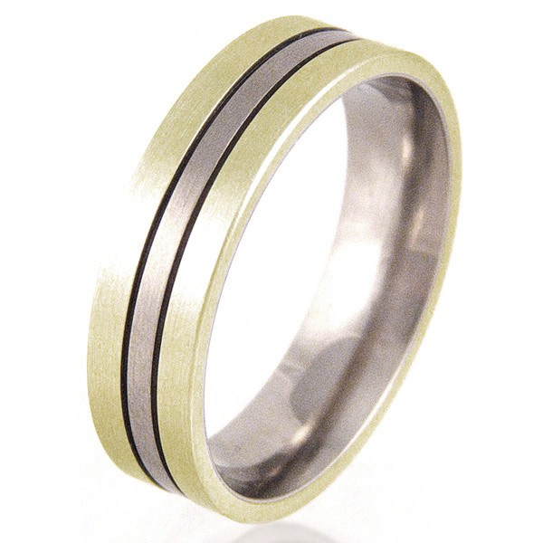 Women's Flat Titanium & Gold Ring