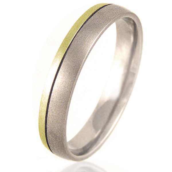 Women's Court Shaped Titanium & Gold Ring