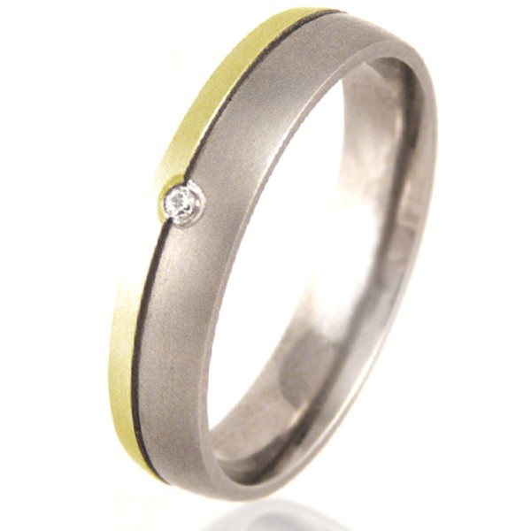 Women's Court Shaped Titanium & Gold Ring set with a Diamond