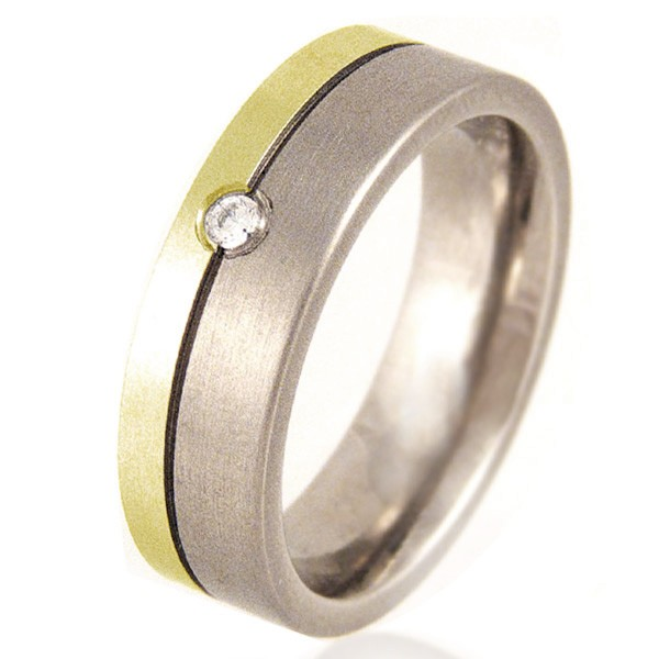 Women's Flat Titanium & Gold Ring set with a Diamond