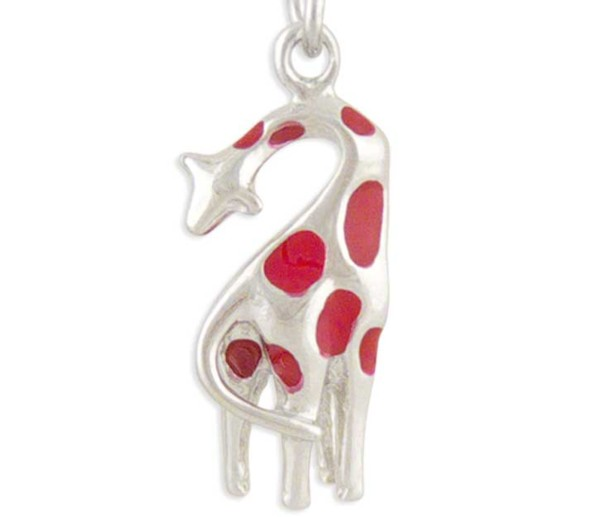 Women's Giraffe Silver Charm Red