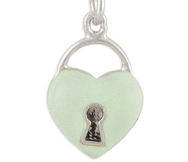Women's Heart Silver Charm Pale Green