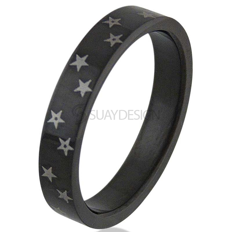 Women's Black Star Steel Ring