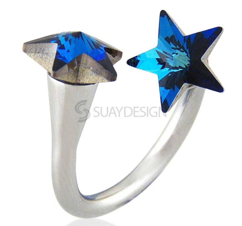 Women's Star Struck Aqua Swarovski Ring