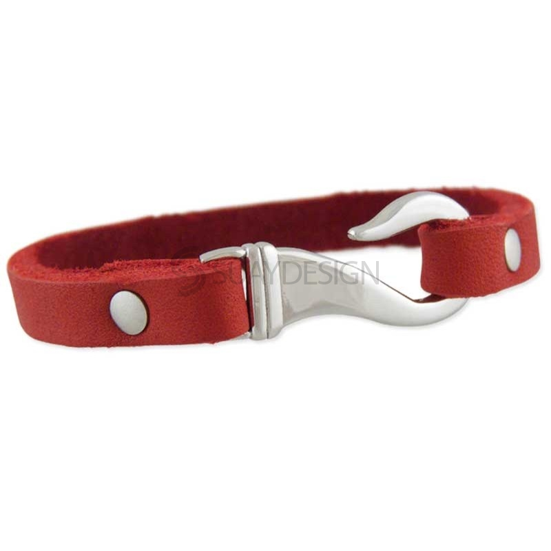 Women's Louisiana Red Leather Bracelet
