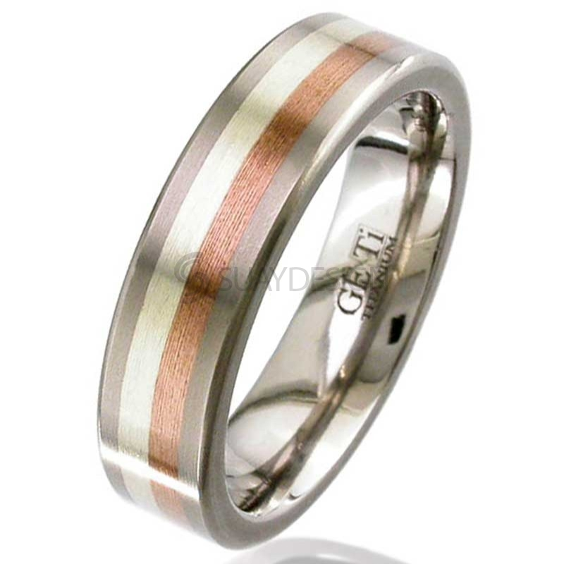Women's Gold Inlaid Titanium Ring 2218-3MMWR