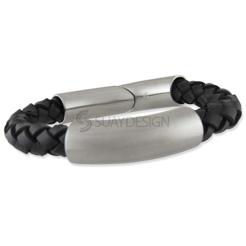 Format Black Satin Leather Bracelet