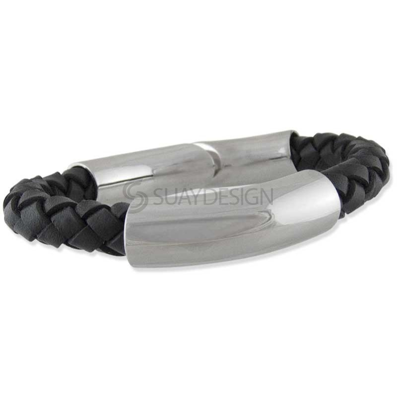 Format Black Polished Leather Bracelet