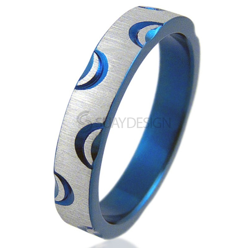 Women's Crescent Electric Blue Ring
